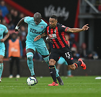 Bournemouth's Callum Wilson (right) battles with Newcastle United's Mohamed Diame (left)<br /> <br /> Photographer David Horton/CameraSport<br /> <br /> The Premier League - Bournemouth v Newcastle United - Saturday 16th March 2019 - Vitality Stadium - Bournemouth<br /> <br /> World Copyright © 2019 CameraSport. All rights reserved. 43 Linden Ave. Countesthorpe. Leicester. England. LE8 5PG - Tel: +44 (0) 116 277 4147 - admin@camerasport.com - www.camerasport.com