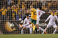 MELBOURNE, 11 JUNE 2013 - Mark BRESCIANO of Australia kicks for goal in a Round 4 FIFA 2014 World Cup qualifier match between Australia and Jordan at Etihad Stadium, Melbourne, Australia. Photo Sydney Low for Zumapress Inc. Please visit zumapress.com for editorial licensing. *This image is NOT FOR SALE via this web site.