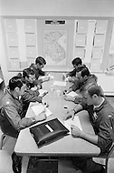 June 1972, Guam --- The Andersen Air Force Base on Guam Island from where the B-52 Stratofortress planes take off for Vietnam. A B-52 crew attend a briefing before a mission over Vietnam. --- Image by © JP Laffont