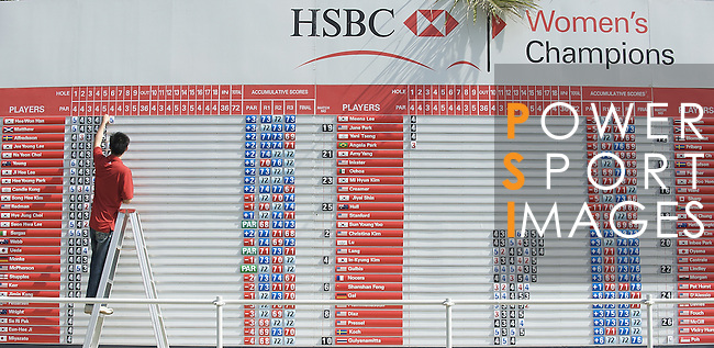 SINGAPORE - MARCH 08:  Score board during the final round of HSBC Women's Champions at the Tanah Merah Country Club on March 8, 2009 in Singapore.  Photo by Victor Fraile / The Power of Sport Images