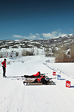 USA, Utah, Midway, Soldier Hollow, learning how to Biathlon, shooting targets after the second lap of the race