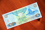 UAE United Arab Emirates twenty dirham currency note on table