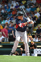 Boston Red Sox first baseman Bryan LaHair (61) during a Spring Training game against the Pittsburgh Pirates on March 12, 2015 at McKechnie Field in Bradenton, Florida.  Boston defeated Pittsburgh 5-1.  (Mike Janes/Four Seam Images)