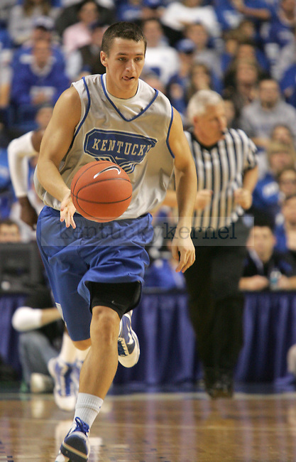 UK guard Mark Krebs dribbles down court during the first period of the Blue and White scrimmage at Rupp Arena Wednesday night..Photo by Zach Brake   Staff