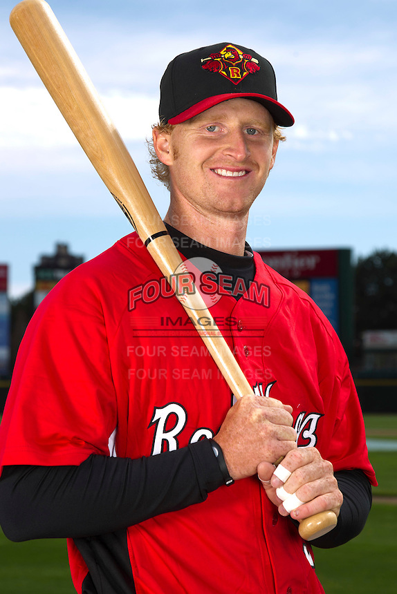 Rochester Red Wings catcher J.R. Towles #5 poses for a photo during media day at Frontier Field on April 3, 2012 in Rochester, New York.  (Mike Janes/Four Seam Images)