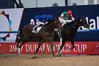 DUBAI,UNITED ARAB EMIRATES-MARCH 25: Thunder Snow,ridden by Christophe Soumillon,wins the UAE Derby at Meydan Racecourse on March 25,2017 in Dubai,United Arab Emirates (Photo by Kaz Ishida/Eclipse Sportswire/Getty Images)