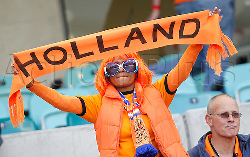 28 06 2010   supporters of The Netherlands Cheer Prior to The 2010 World Cup Round of 16 Soccer Match between The Netherlands and Slovakia at Moses Mabhida Stadium in Durban South Africa