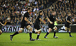 The All Blacks defensive line is (left) Chris Jack, Rodney So'oialo, Tony Woodcock and Nick Evans during the first international rugby test at Eden Park, Auckland, New Zealand, Saturday, June 02, 2007. The All Blacks beat France 42-11.
