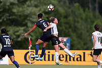 Cary, North Carolina  - Saturday July 01, 2017: Abby Erceg and Christie Pearce during a regular season National Women's Soccer League (NWSL) match between the North Carolina Courage and the Sky Blue FC at Sahlen's Stadium at WakeMed Soccer Park.