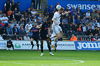 Oli McBurnie of Swansea City in action during the Sky Bet Championship match between Swansea City and Rotherham United at the Liberty Stadium in Swansea, Wales, UK.  Friday 19 April 2019
