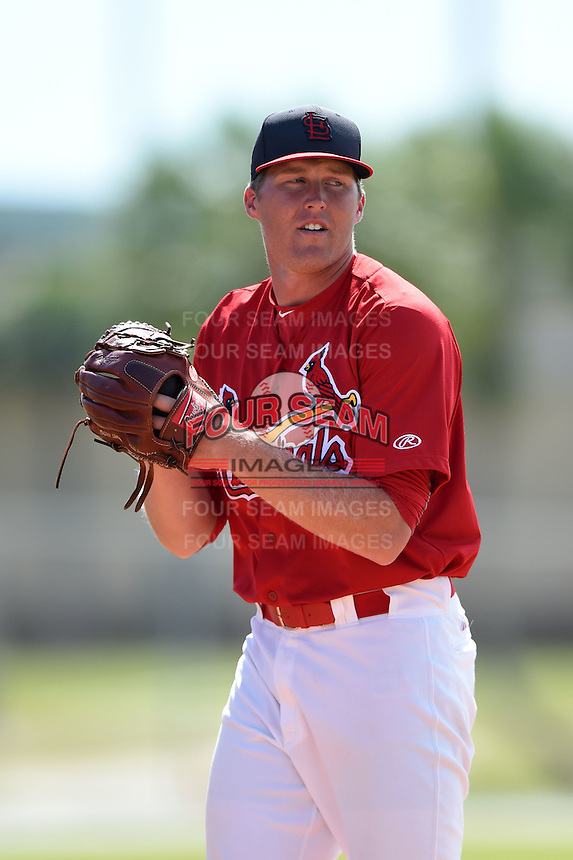 St. Louis Cardinals pitcher Landon Beck (23) in the bullpen during a minor league spring training game against the New York Mets on April 1, 2015 at the Roger Dean Complex in Jupiter, Florida.  (Mike Janes/Four Seam Images)