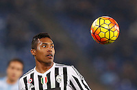 Calcio, Serie A: Lazio vs Juventus. Roma, stadio Olimpico, 4 dicembre 2015.<br /> Juventus&rsquo; Alex Sandro eyes the ball during the Italian Serie A football match between Lazio and Juventus at Rome's Olympic stadium, 4 December 2015.<br /> UPDATE IMAGES PRESS/Riccardo De Luca