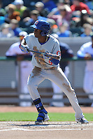 Chattanooga Lookouts second baseman Darnell Sweeney #9 squares to bunt during a game against the Chattanooga Lookouts at Smokies Park on April 10, 2014 in Kodak, Tennessee. The Lookouts defeated the Smokies 1-0. (Tony Farlow/Four Seam Images)
