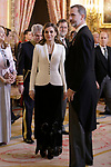 King Felipe VI of Spain and Queen Letizia of Spain attend the Foreign Ambassadors Reception at The Royal Palace. January 31,2018. (ALTERPHOTOS/Pool)