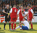 Lee McCulloch falls on the edge of the box and is booked for simulation by referee Bobby Madden