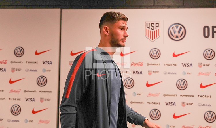 WASHINGTON D.C. - OCTOBER 11: Matt Miazga #3 of the United States walks off the team bus prior to their Nations League game versus Cuba at Audi Field, on October 11, 2019 in Washington D.C.