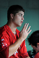 Pitcher Jalen Beeks (20) of the Greenville Drive talks with his coaches in the dugout during a game against the Augusta GreenJackets on Thursday, June 11, 2015, at Fluor Field at the West End in Greenville, South Carolina. Greenville won, 10-1. (Tom Priddy/Four Seam Images)