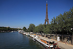 River Seine with Eiffel Tower La tour eiffel in the background. City of Paris. Paris. France