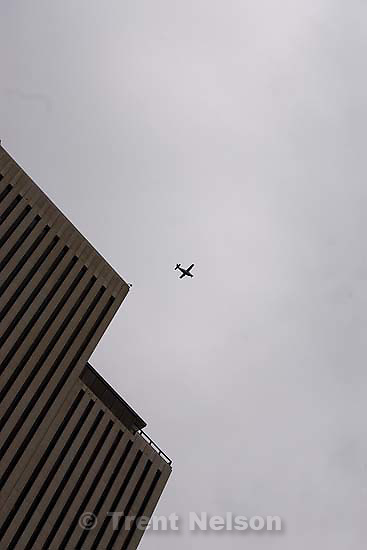 plane going past LDS office building..Tuesday May 5, 2009 in Salt Lake City.