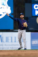 Cedar Rapids Kernels second baseman Estamy Urena (13) during a Midwest League game against the Kane County Cougars at Northwestern Medicine Field on April 28, 2019 in Geneva, Illinois. Cedar Rapids defeated Kane County 3-2 in game two of a doubleheader. (Zachary Lucy/Four Seam Images)