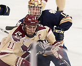 Chris Calnan (BC - 11), Felix Holmberg (Notre Dame - 12) - The Boston College Eagles defeated the University of Notre Dame Fighting Irish 6-4 (EN) on Saturday, January 28, 2017, at Kelley Rink in Conte Forum in Chestnut Hill, Massachusetts.The Boston College Eagles defeated the University of Notre Dame Fighting Irish 6-4 (EN) on Saturday, January 28, 2017, at Kelley Rink in Conte Forum in Chestnut Hill, Massachusetts.