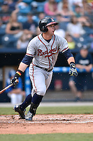 Rome Braves right fielder Braxton Davidson (24) swings at a pitch during a game against the Asheville Tourists on May 15, 2015 in Asheville, North Carolina. The Braves defeated the Tourists 6-0. (Tony Farlow/Four Seam Images)