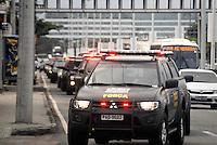RIO DE JANEIRO, RJ, 22.07.2016 - RIO-2016 - Movimentação de policiais da Força Nacional na Barra da Tijuca na região oeste do Rio de Janeiro nesta sexta-feira, 22. (Foto: Marcus Victorio/Brazil Photo Press)