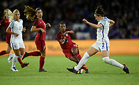 Orlando City, FL - Wednesday March 07, 2018: Lucy Bronze, Crystal Dunn during a 2018 SheBelieves Cup match between the women's national teams of the United States (USA) and England (ENG) at Orlando City Stadium.