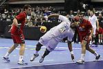 Cedric Sorhaindo vs Stevan Vujovic. Montenegro vs France: 20-32 - Preliminary Round - Group A