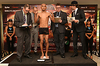 Maximino Flores on the scales during a Cyclone Promotions Weigh-In at the Grosvenor House Hotel on 6th October 2017