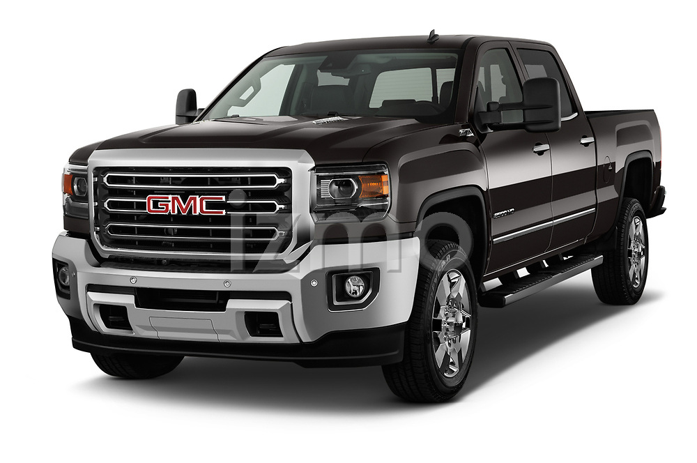 2018 GMC Sierra 2500HD 2WD Crew Cab Standard Box SLT 4 Door Pick Up angular front stock photos of front three quarter view