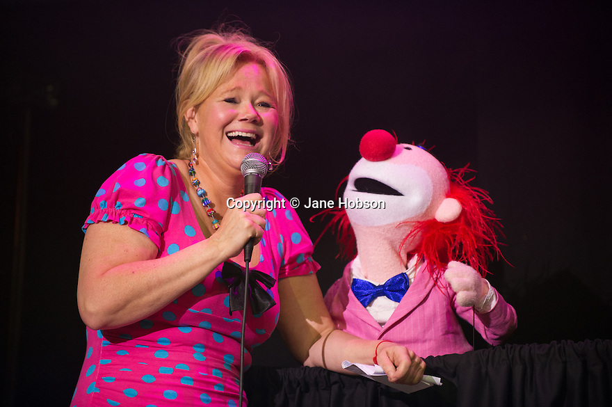 Edinburgh, UK. 01.08.2013.  Caroline Rhea performs at the Press Launch of the Gilded Balloon's programme of events for the Edinburgh Festival Fringe. Photograph © Jane Hobson