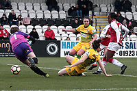 Danielle Carter of Arsenal scores the first goal for her team during Arsenal Women vs Yeovil Town Ladies, FA Women's Super League FA WSL1 Football at Meadow Park on 11th February 2018