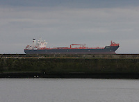 A ship at anchor at the approach to Aberdeen Harbour.