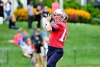 July 27, 2017: New England Patriots quarterback Tom Brady (12) throws a pass at the New England Patriots training camp held on the at Gillette Stadium, in Foxborough, Massachusetts. Eric Canha/CSM