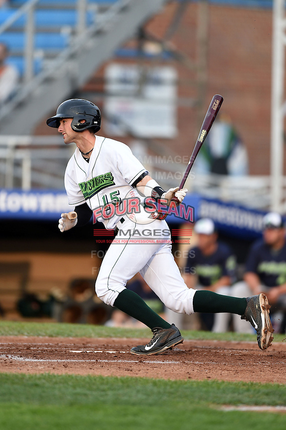 Jamestown Jammers shortstop Tyler Filliben (15) at bat during a game against the Vermont Lake Monsters on July 12, 2014 at Russell Diethrick Park in Jamestown, New York.  Jamestown defeated Vermont 3-2.  (Mike Janes/Four Seam Images)