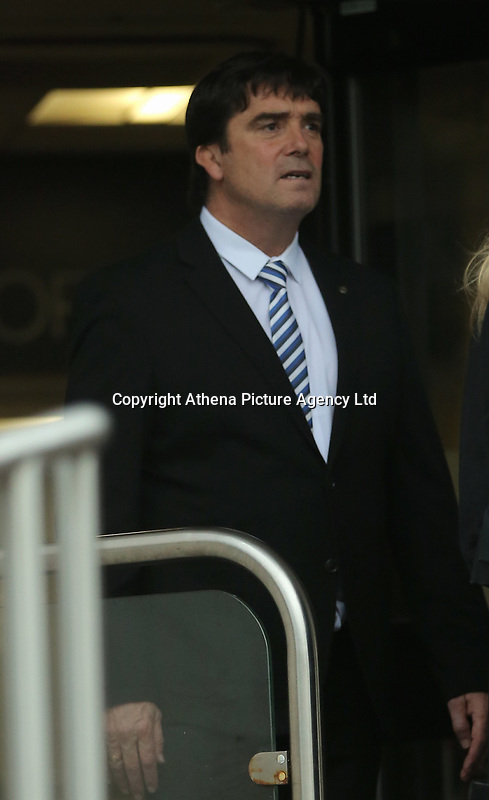 Pictured: PC Paul Morgan, leaves Swansea Crown Court. Friday 13 October 2017<br /> Re: A cop who won bravery awards had his career ruined when a woman he met through a dating website falsely claimed he had raped her.<br /> PC Paul Morgan, 52, suffered the indignity of being arrested by his own colleagues and held in a cell overnight after the allegation by Samantha Murray-Evans, 45, a woman he met through the Plenty of Fish website.<br /> Lengthy investigations followed adding to the PC's stress until it was eventually decided that Murray-Evans, who told PC Morgan she was a college lecturer and actress, had been lying.<br /> She is pleading guilty to perverting the course of justice when she appears at Swansea Crown Court this Friday. (October 13th).<br /> PC Morgan, a cop for 21 years, has been off sick for a year following the allegation and is of the belief that Murray-Evans lies were clear from the outset and he should have been believed rather than her.Pictured: Samantha Murray Evans (L), arrives at Swansea Crown Court. Friday 13 October 2017<br /> Re: A cop who won bravery awards had his career ruined when a woman he met through a dating website falsely claimed he had raped her.<br /> PC Paul Morgan, 52, suffered the indignity of being arrested by his own colleagues and held in a cell overnight after the allegation by Samantha Murray-Evans, 45, a woman he met through the Plenty of Fish website.<br /> Lengthy investigations followed adding to the PC's stress until it was eventually decided that Murray-Evans, who told PC Morgan she was a college lecturer and actress, had been lying.<br /> She is pleading guilty to perverting the course of justice when she appears at Swansea Crown Court this Friday. (October 13th).<br /> PC Morgan, a cop for 21 years, has been off sick for a year following the allegation and is of the belief that Murray-Evans lies were clear from the outset and he should have been believed rather than her.