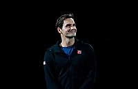 SHANGHAI - OCTOBER 6: Roger Federer of Switzerland stars in a fan experience before the start of the Rolex Shanghai Masters at Qi Zhong Tennis Centre on October 6, 2018 in Shanghai, China