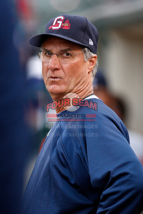 June 3, 2009:  Pitching Coach Derek Botelho of the Gwinnett Braves in the dugout during a game at Frontier Field in Rochester, NY.  The Gwinnett Braves are the International League Triple-A affiliate of the Atlanta Braves.  Photo by:  Mike Janes/Four Seam Images