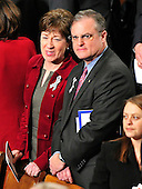 United States Senators Susan Collins (Republican of Maine) and Mark Pryor (Democrat of Arkansas) wait for the start of U.S. President Barack Obama's State of the Union Address to a Joint Session of Congress in the U.S. Capitol in Washington, D.C. on Tuesday, January 25, 2011.  .Credit: Ron Sachs / CNP.(RESTRICTION: NO New York or New Jersey Newspapers or newspapers within a 75 mile radius of New York City)