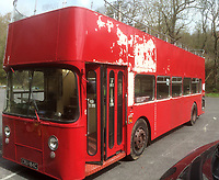 BNPS.co.uk (01202 558833)<br /> Pic: BearCrossBusCo/BNPS <br /> <br /> The bus before restoration began.<br /> <br /> A small group of volunteers have reintroduced a historic seaside bus service after spending five years restoring the original bus that travelled the route 50 years ago.<br /> <br /> The classic yellow open top 1965 Daimler Fleetline double decker is back running the old 'Route 12'  service between Bournemouth and Hengistbury Head.<br /> <br /> The volunteers drive and conduct the bus, as well as maintaining it and producing the timetables and bus stop flags.<br /> <br /> The vintage Bournemouth Corporation Transport bus ran along the idyllic five mile stretch of Dorset coastline from 1965 to 1977.<br /> <br /> But it had fallen into a 'sorry state' and was languishing in a depot when it was purchased by the volunteers from a bus operator in Purfleet, Essex, for £2,000 in 2014.