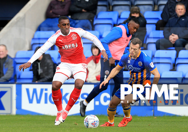 Amari'i Bell of Fleetwood Town wins the ball during the Sky Bet League 1 match between Shrewsbury Town and Fleetwood Town at Greenhous Meadow, Shrewsbury, England on 21 October 2017. Photo by Leila Coker / PRiME Media Images.