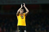 Conor Coady of Wolves applauds the Wolves fans after Arsenal vs Wolverhampton Wanderers, Premier League Football at the Emirates Stadium on 11th November 2018
