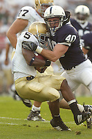08 September 2007:  Penn State LB Dan Connor (40) tackles Notre Dame RB Armando Allen (5).  The Penn State Nittany Lions defeated the Notre Dame Fighting Irish 31-10 September 8, 2007 at Beaver Stadium in State College, PA..