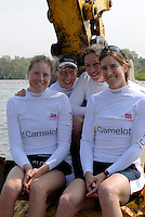 Reading, GREAT BRITAIN, GBR W4X,  sitting in the digger bucket left Frances HOUGHTON, Debbie FLOOD Annie VERNON and Katherine GRAINGERGB Rowing 2007 FISA World Cup Team Announcement, at the GB Training centre, Caversham, England on Thur. 26.04.2007  [Photo, Peter Spurrier/Intersport-images]..... , Rowing course: GB Rowing Training Complex, Redgrave Pinsent Lake, Caversham, Reading