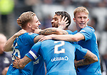 22.04.2018 Rangers v Hearts: Jason Cummings and Daniel Candeias celebrate together along with Ross McCrorie and James Tavernier