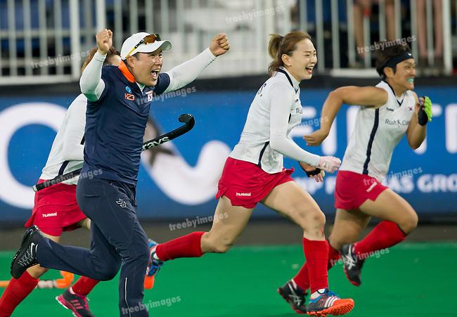 02/07/2015<br /> HWL Semi Final Antwerp Belgium 2015<br /> New Zealand v Korea Women<br /> Korean Coach jin Soo Han<br /> Photo: Grant Treeby