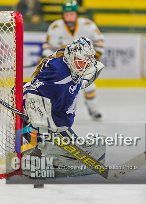 14 February 2015: University of New Hampshire Wildcat Goaltender Vilma Vaattovaara, a Junior from Veikkola, Finland, in first period action against the University of Vermont Catamounts at Gutterson Fieldhouse in Burlington, Vermont. The Ladies played to a 3-3 tie in their final meeting of the NCAA Hockey East season. Mandatory Credit: Ed Wolfstein Photo *** RAW (NEF) Image File Available ***