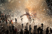 "The ""Toros"" or bulls of Tultepec is a yearly tradition where the town, 90% of which works making artisanal fireworks, celebrates its patron sant San Juan de Dios, also the patron saint of firemen.  Tultepec, Estado de Mexico, Mexico."