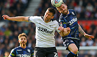 Leeds United's Stuart Dallas battles with Derby County's David Nugent<br /> <br /> Photographer Alex Dodd/CameraSport<br /> <br /> The EFL Sky Bet Championship Play-off  First Leg - Derby County v Leeds United - Thursday 9th May 2019 - Pride Park - Derby<br /> <br /> World Copyright © 2019 CameraSport. All rights reserved. 43 Linden Ave. Countesthorpe. Leicester. England. LE8 5PG - Tel: +44 (0) 116 277 4147 - admin@camerasport.com - www.camerasport.com